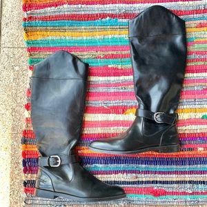 NWOT Zara Black Leather Knee High Boots size 10